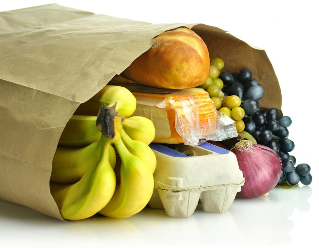 Bag of groceries that symbolizes entertaining on a budget