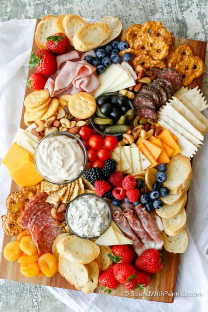 charcuterie board made from walmart ingredients