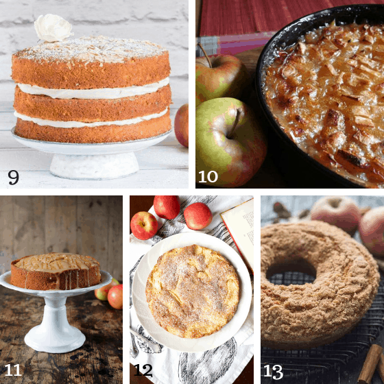 collage of apple cakes