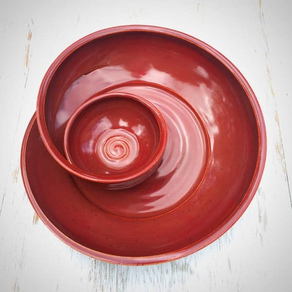 red swirly chip and dip bowl is a great gift