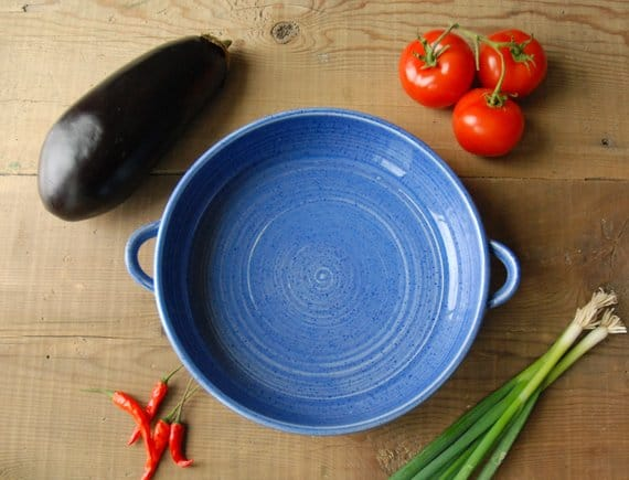 blue ceramic casserole dish with handles