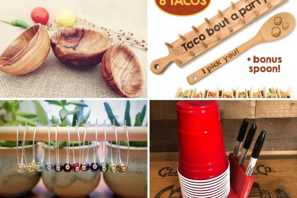 appetizer bowls, taco holder tray, wine charms, and party cup holder