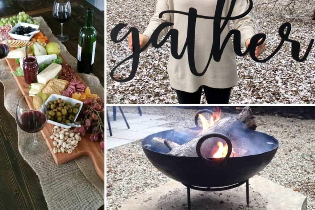 charcuterie board, gather sign, fire pit