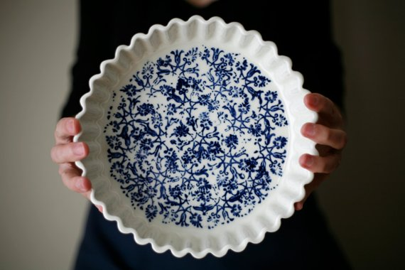 feminine scalloped blue and white pie plate