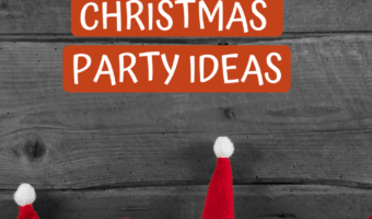 gray wooden board with santa hats in front