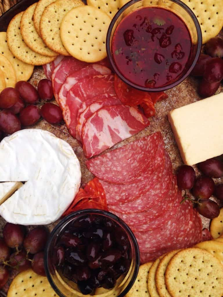 a charcuterie board you can make with ingredients from aldi's