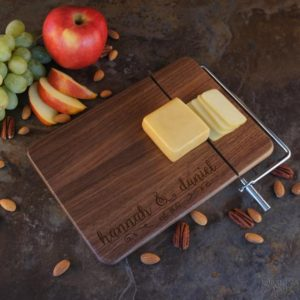 personalized charcuterie board with slicer for sale