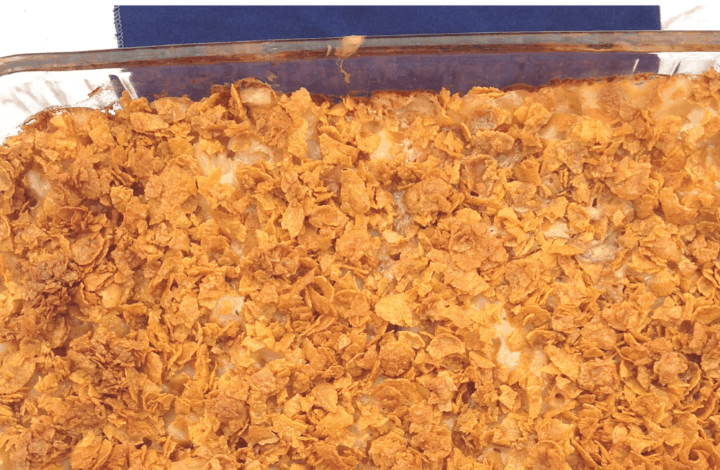 clear casserole dish with hashbrown casserole