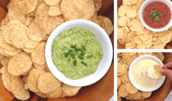 collage of guacamole, queso, and salsa
