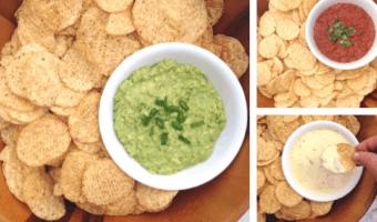 collage of guacamole, queso, and salsa