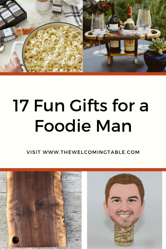 collage of gifts for a foodie man: popcorn seasonings, wine caddy, charcuterie board, and personalized wine stopper