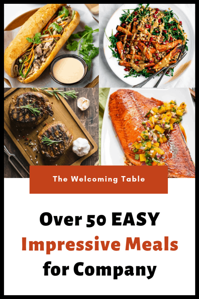collage of impressive dinner recipes: vietnamese sandwich with dipping sauce, roasted carrot dish, steak, and salmon with mango salsa