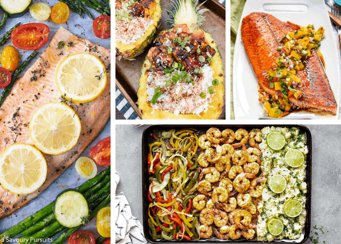 collage of impressive seafood recipes