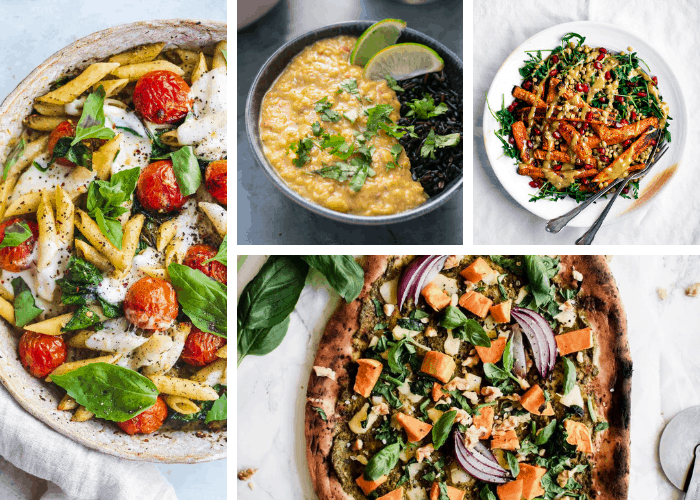 collage of vegetarian and vegan meals for company