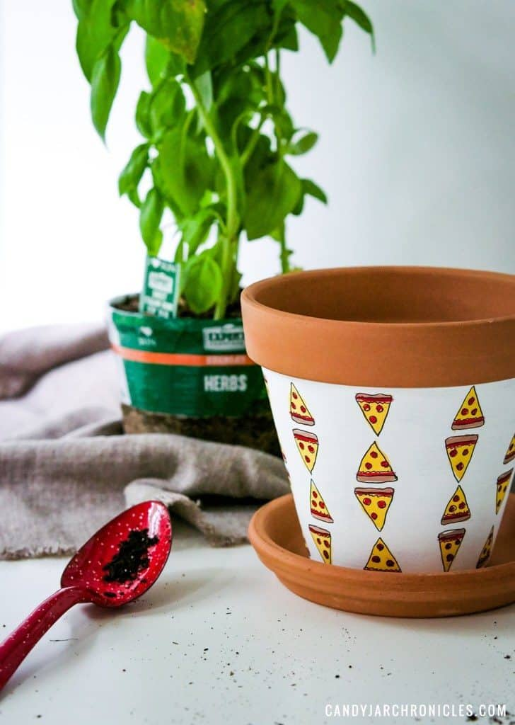 Pizza Basil Plant Holder -- girls night in craft idea