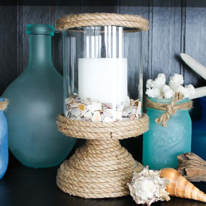 collection of blue vases and a beach craft for girls night in