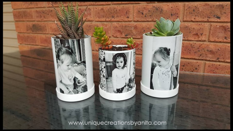 PVC pipe planters with photos on them -- girls night in craft idea