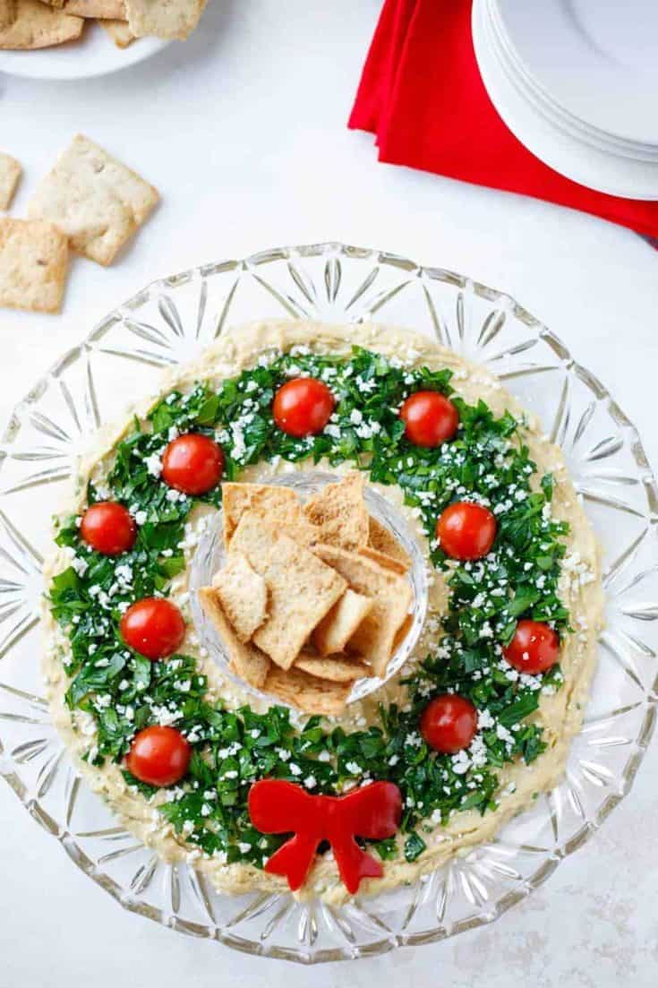 "Easy Christmas Appetizer ""Hummus Wreath"" - Two Healthy Kitchens"